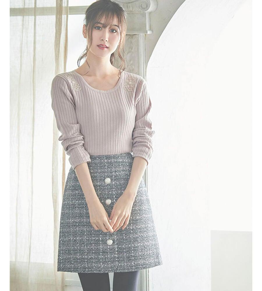 フロントボタンツィードスカート