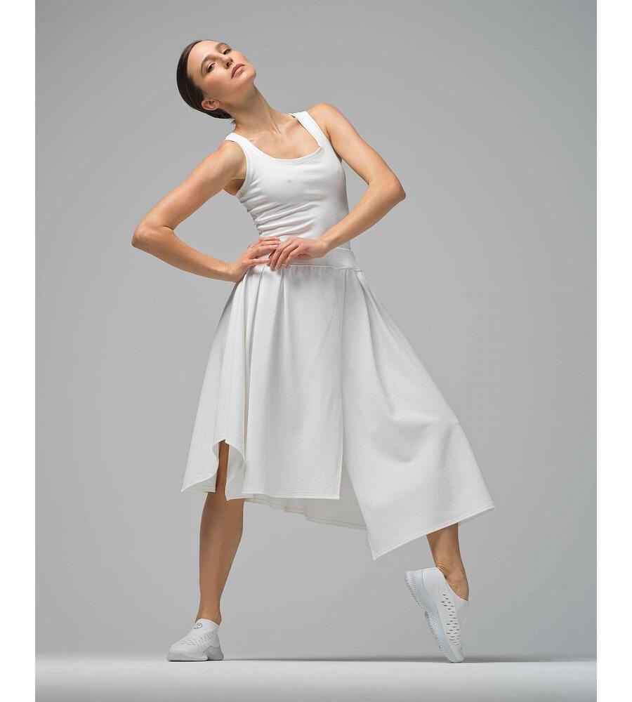 Thin straps dress in stretch pique