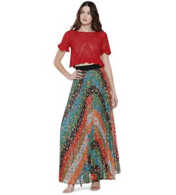 KATZ WIDE BAND SUNBURST PLEAT MAXI SKIRT