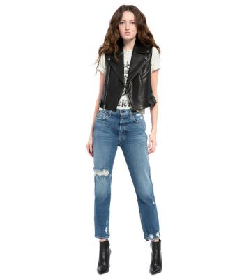 CODY LEATHER CROPPED MOTO VEST