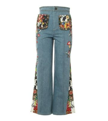 REINA EMBROIDERY ANKLE PANT GODET
