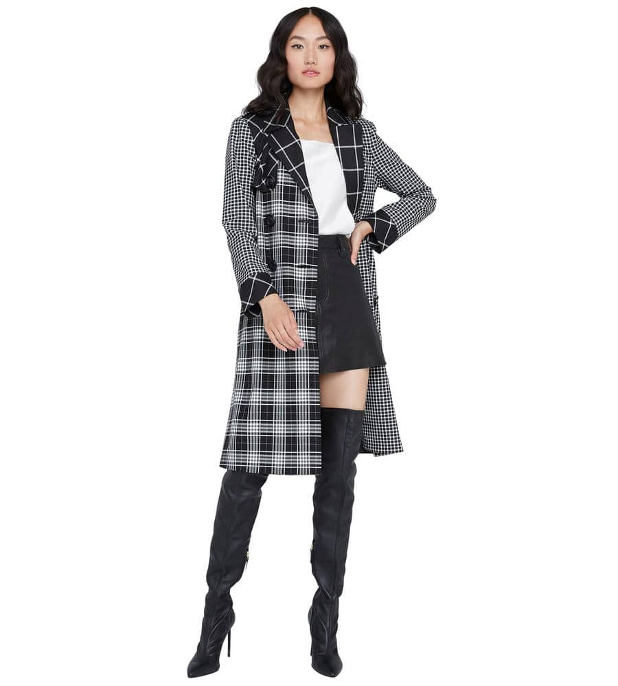 TIMPSON PLAID TRENCH COAT