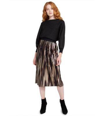 MIKAELA METALLIC MIDI SKIRT
