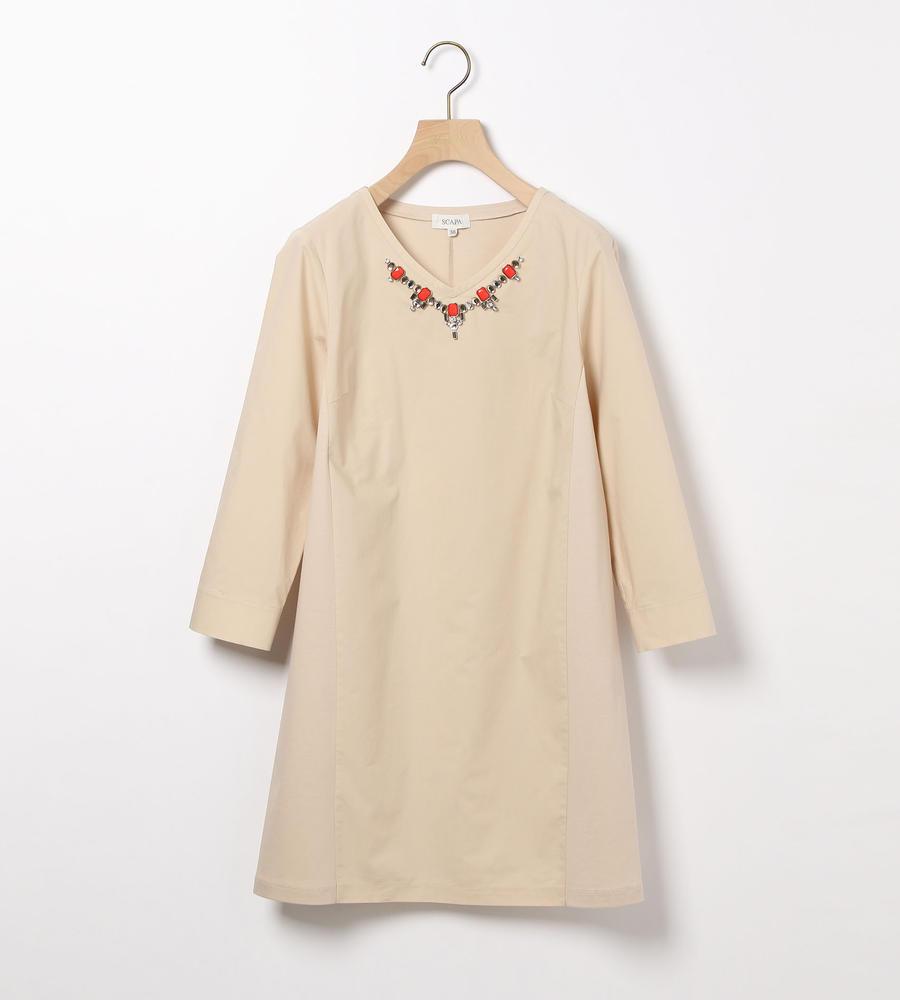 ビジューコンビジャージ七分袖カットソー