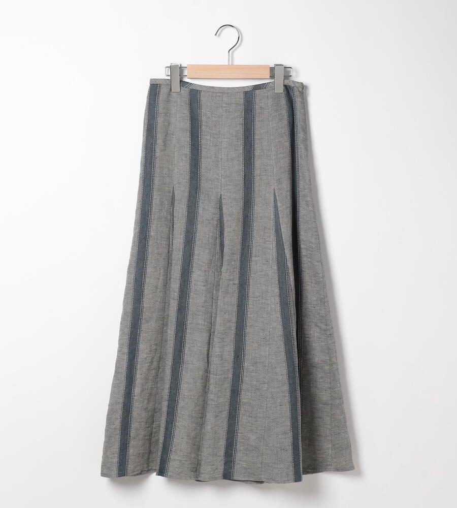 ステッチリネンストライプスカート
