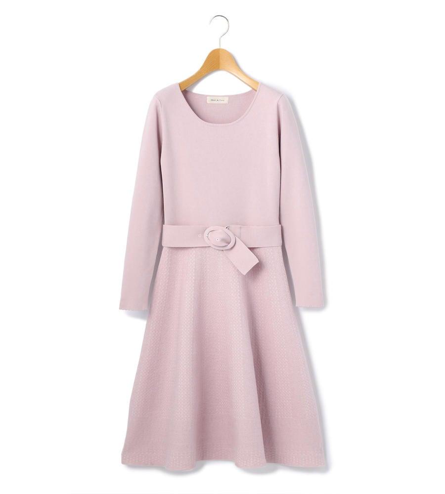 【WEB限定カラーローズピンク・アイボリー】ニットジャガードフレアーワンピース