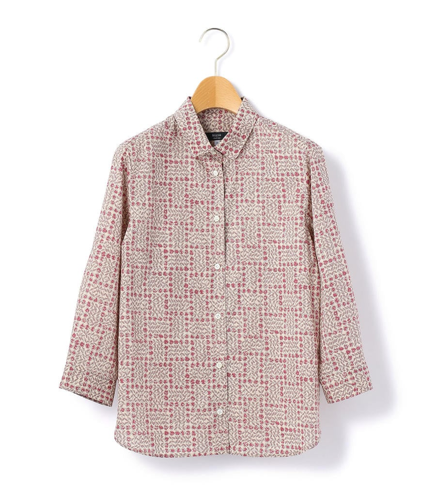 フラワーモチーフをグラフィカルに表現したリバティプリントシャツが入荷しました。