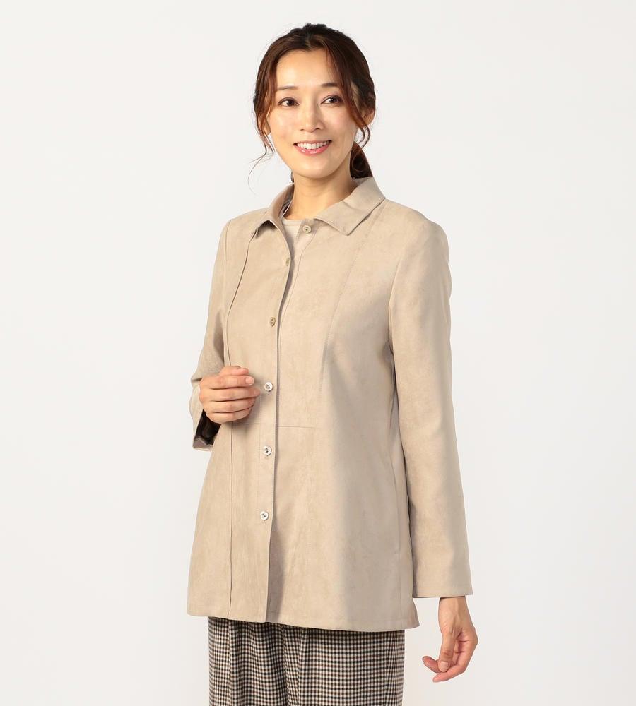 ハリコシがあり、しなやかで繊細な風合いが特徴のスエード調素材のセミロング丈のシャツ風ジャケット等新規商品入荷致しました。